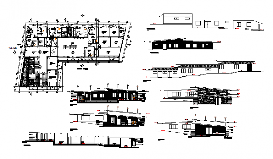 Health post hospital all sided elevation, section and layout plan details dwg file