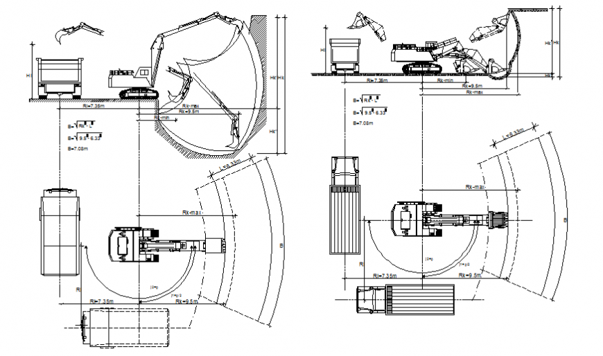Heavy excavator construction vehicle block cad drawing details dwg file