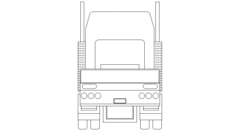 Heavy loaded truck details elevation 2d view autocad drawing