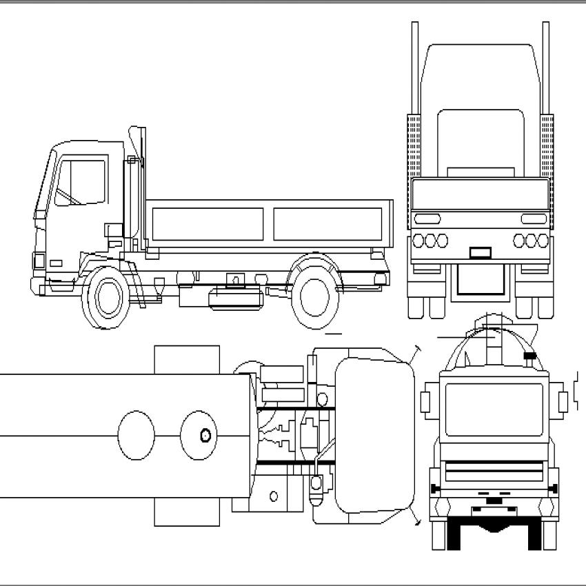 Heavy trucks multiple cad blocks design dwg file