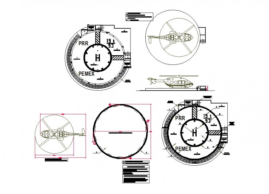 Helicopter detail 2d view CAD block layout file in autocad format