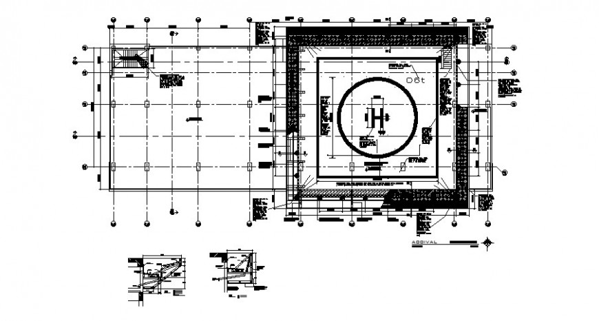 Helicopter landing base area detailing drawing in dwg format