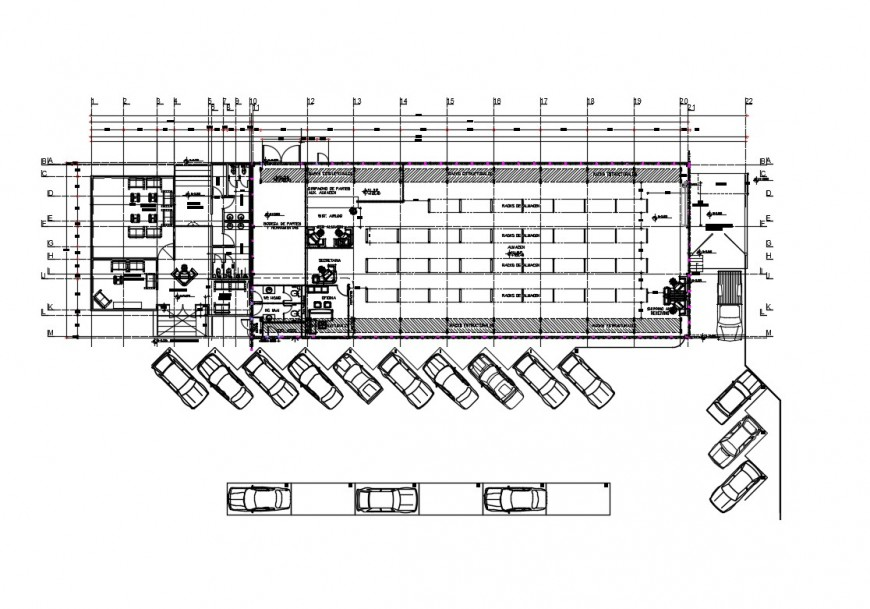 Heliservice expansion industrial plant distribution plan cad drawing details dwg file