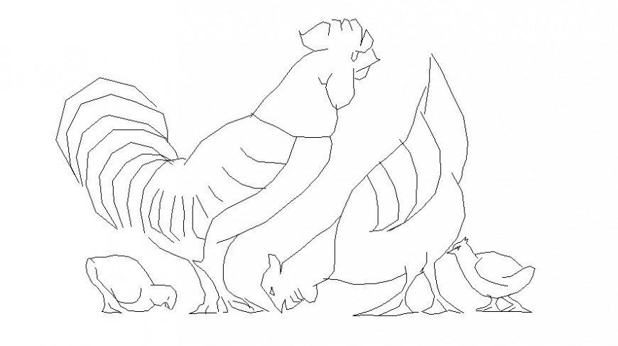 Hen and cock drawings 2d view elevation of birds blocks dwg file