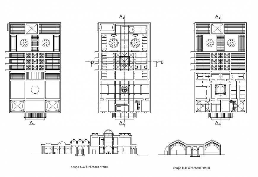 Heritage architectural building detail plan and sectional layout dwg file