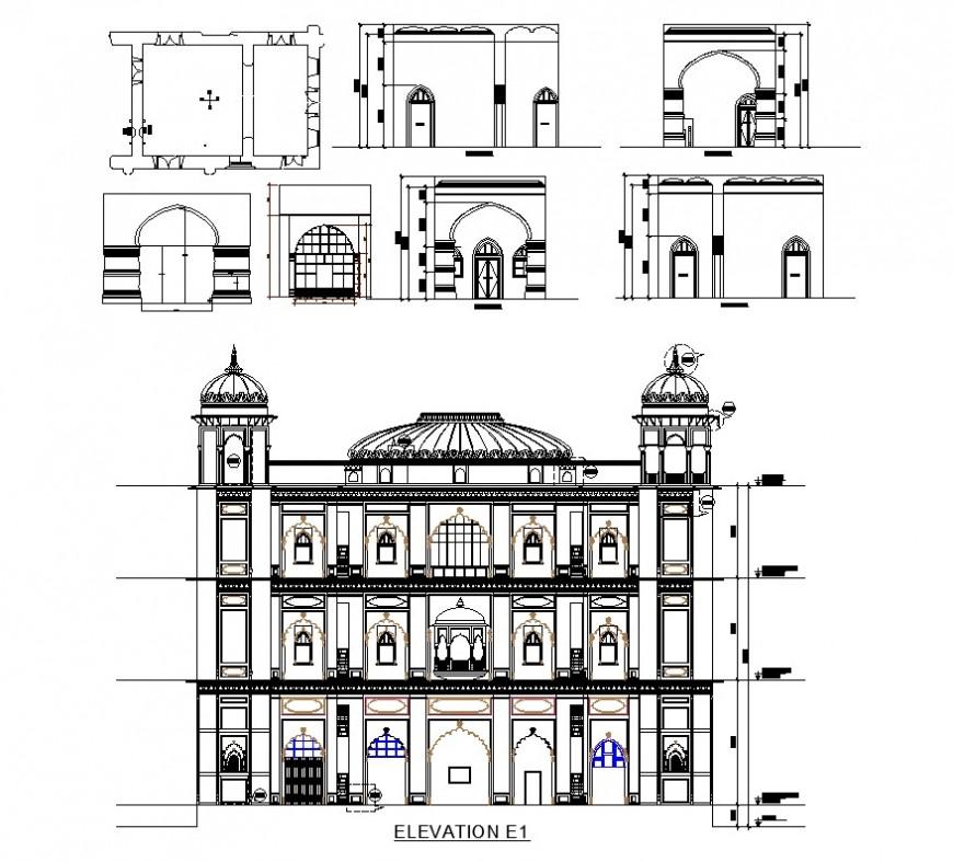 Heritage architecture building detail 2d view CAD structural block layout autocad file