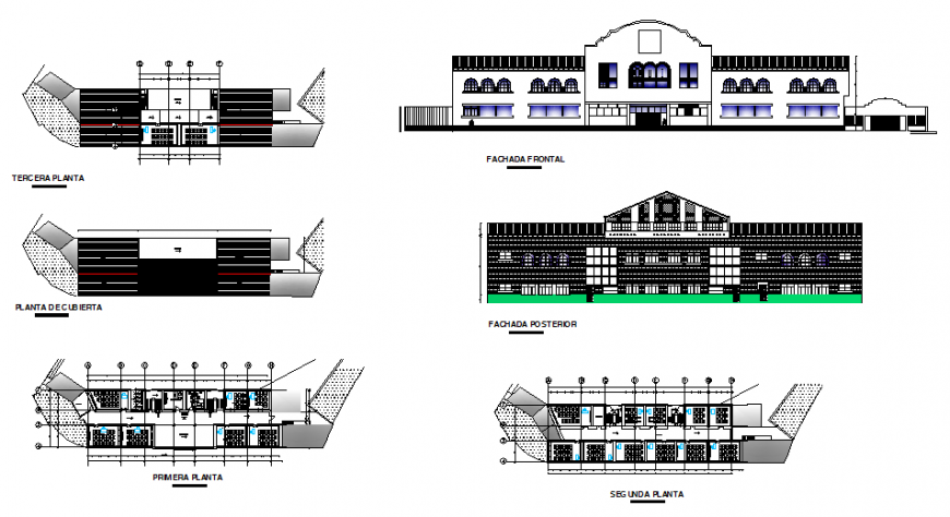 Heritage school facade elevation, section, first floor, second floor and cover plant details dwg file