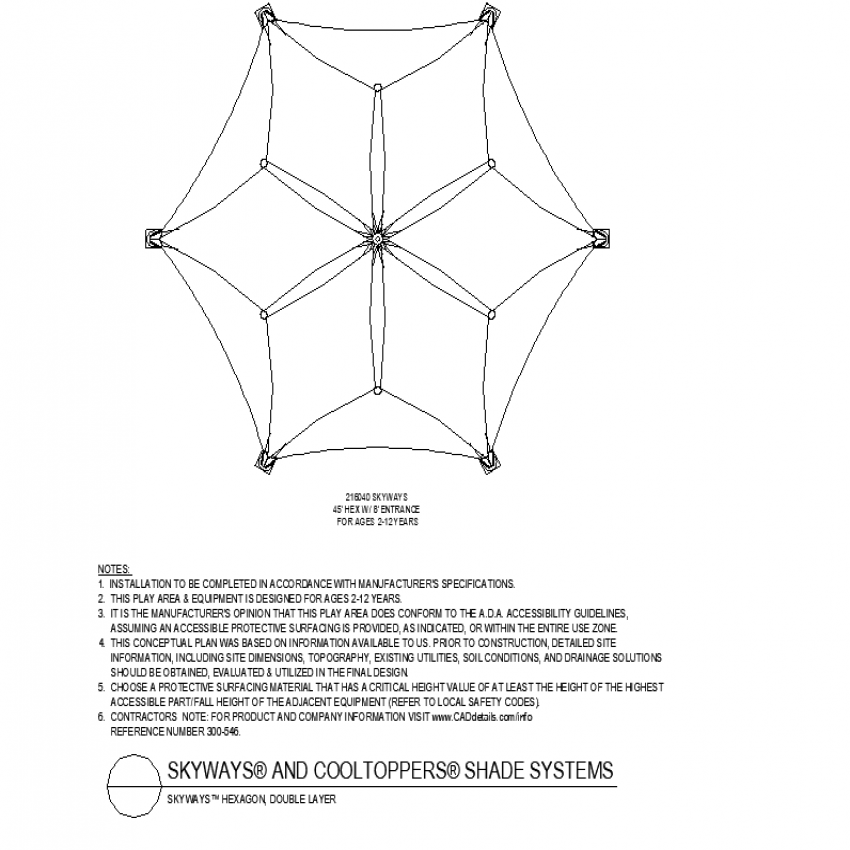 Hexagon shape double layer shade autocad file