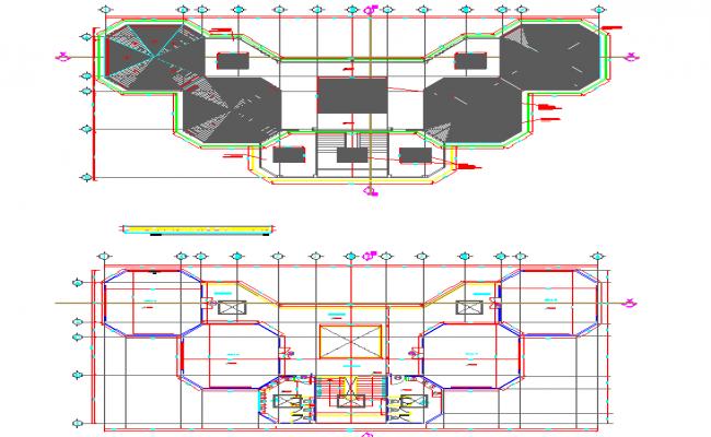 hexagonal shape building plan dwg file