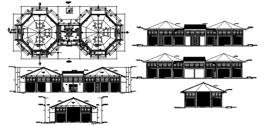 Hexagonal floor plan and elevation of hotel in auto cad file