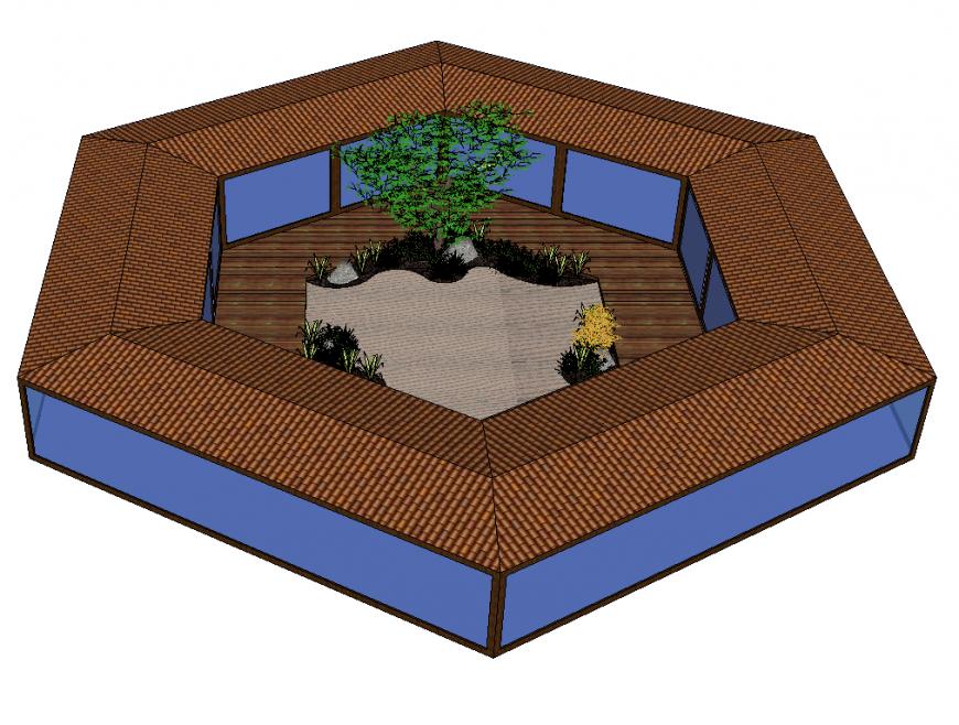 Hexagonal house design detail elevation 3d model layout Sketchup file