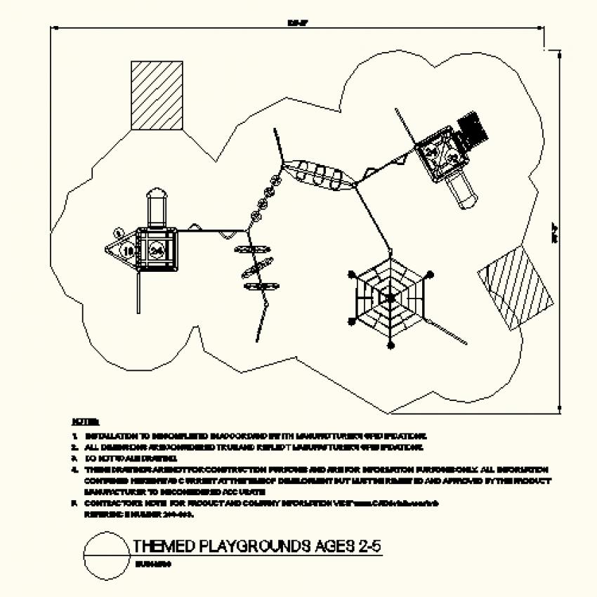 Hexagonal shape play-ground dwg file