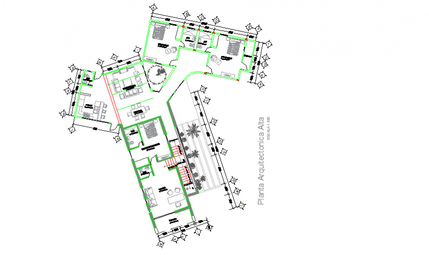 High architectural plant design drawing of modern house design