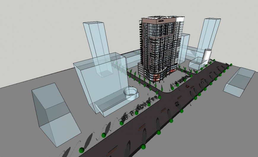 High rise buidling office elevation design model