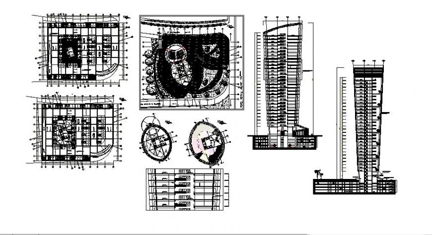 High rise building block 2d view CAD block autocad file
