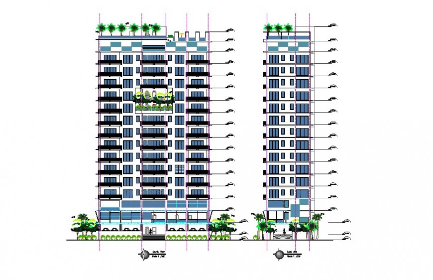 High rise building concept elevation detail file