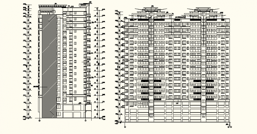 High rise building detail elevation layout plan