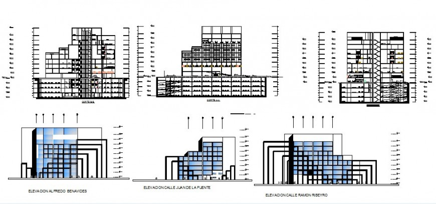 High rise building elevation and section 2d view CAD structural block layout dwg file