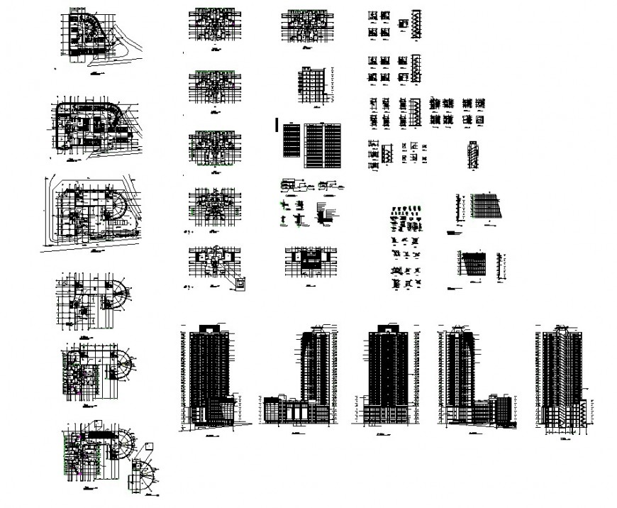 High rise building plan and section structural block layout file in autocad format
