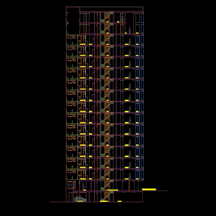 High rise building plan autocad file
