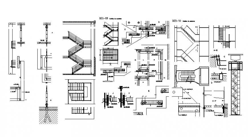 High rise building stair plan and section autocad file