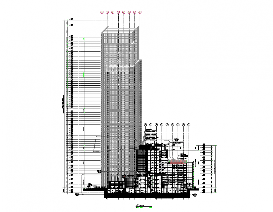 High rise corporate building tower constructive sectional details dwg file