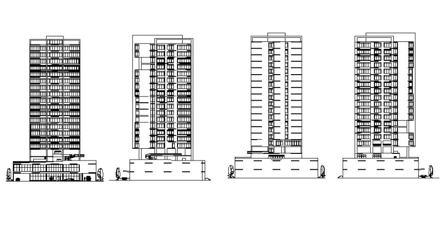 High rise corporate office building tower all sided elevation and section details dwg file