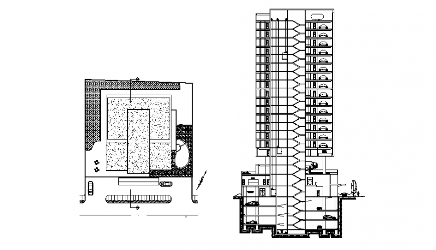 High rise corporate office tower facade section and ground floor details dwg file
