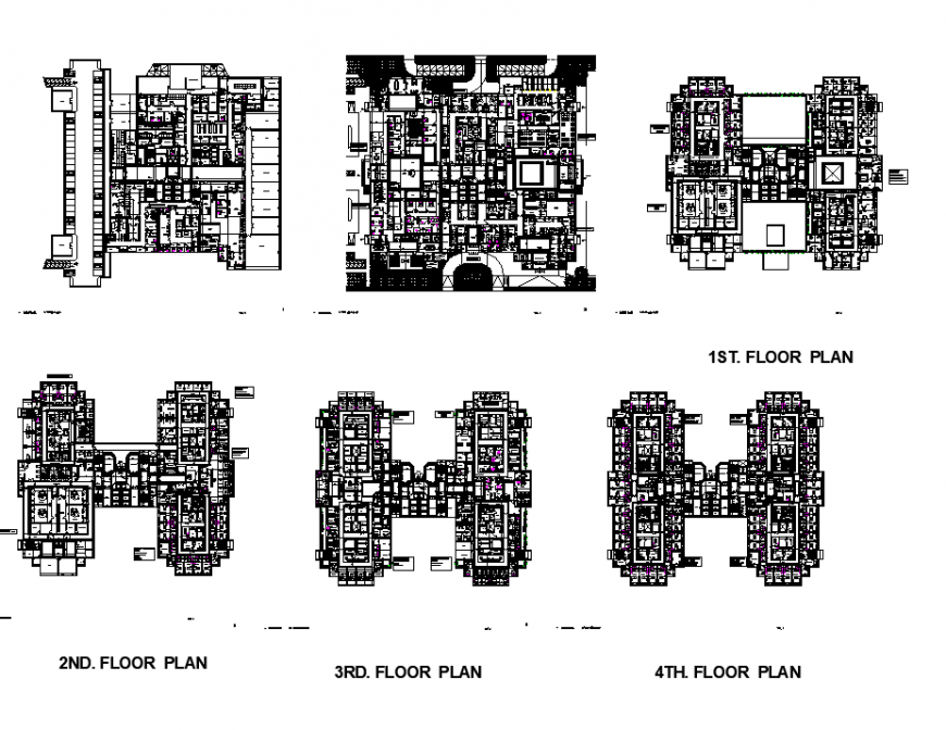 High rise hospital building working plan dwg file