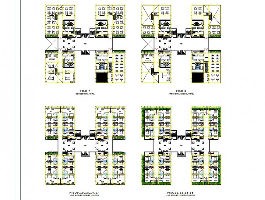 High rise hotel building structure detail 2d view CAD construction block dwg file
