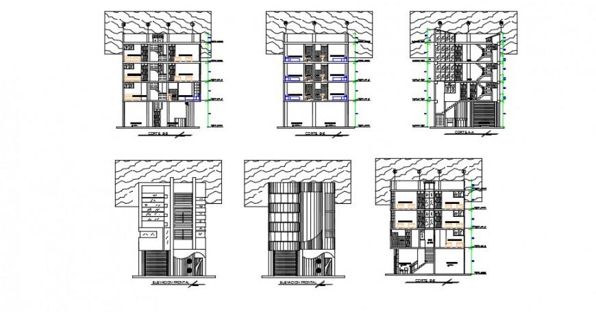 High rise hotel elevation model detailing dwg file
