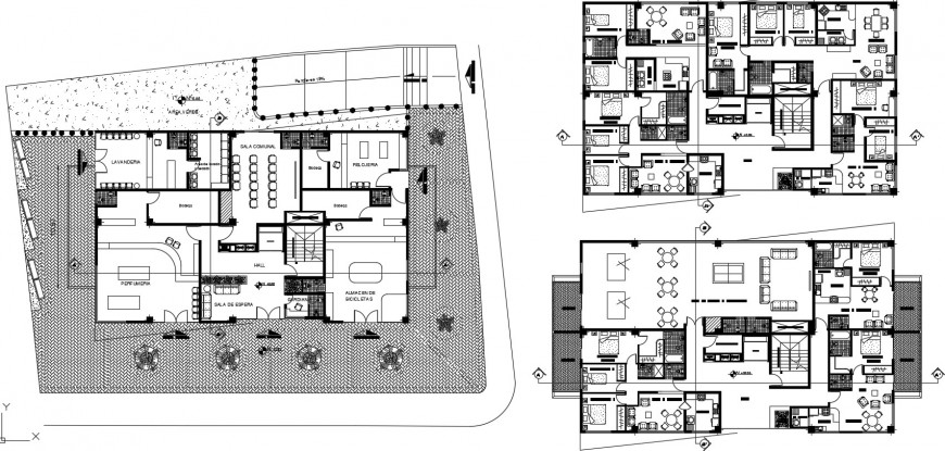 High rise mixed office building floor plan distribution details dwg file