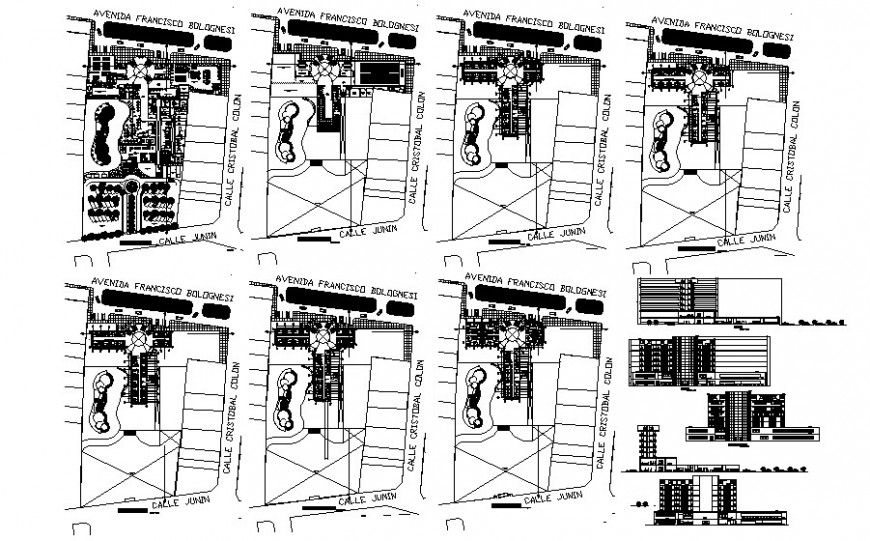 High rise multi-story commercial building hub drawings 2d view autocad file
