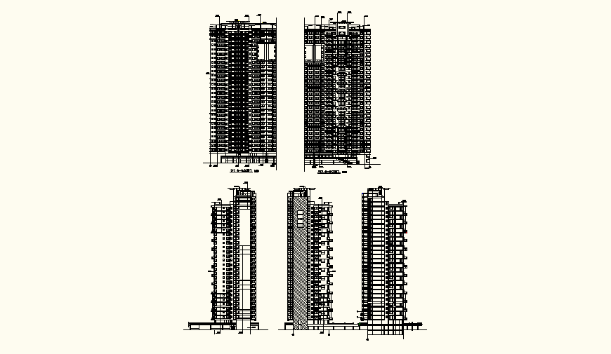 High rise residential building detail elevation and plan autocad file