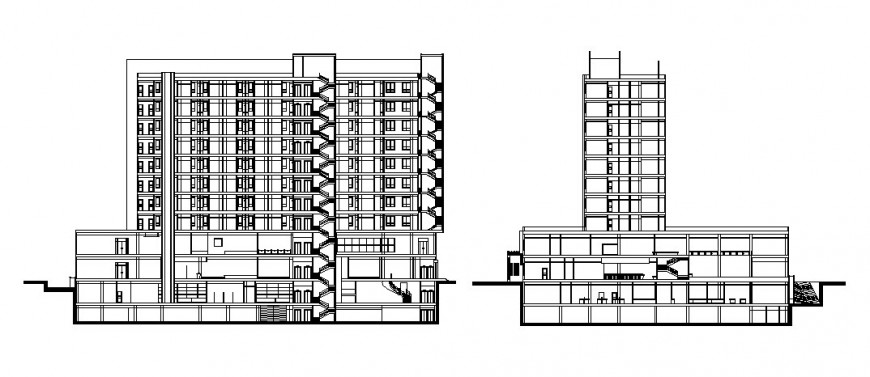 High riser building detail elevation 2d drawing in autocad
