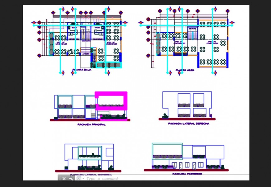 High school all sided elevation and floor plan cad drawing details dwg file