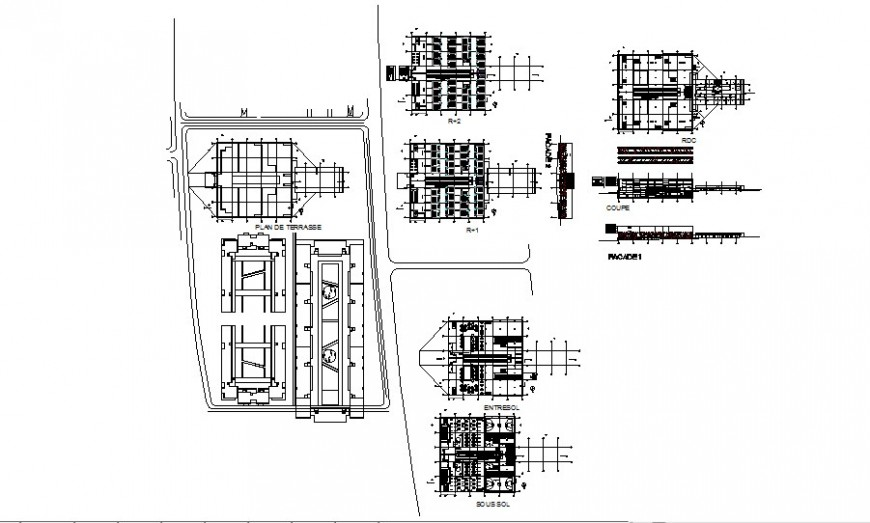 High school elevation, section and floor plan cad drawing details dwg file