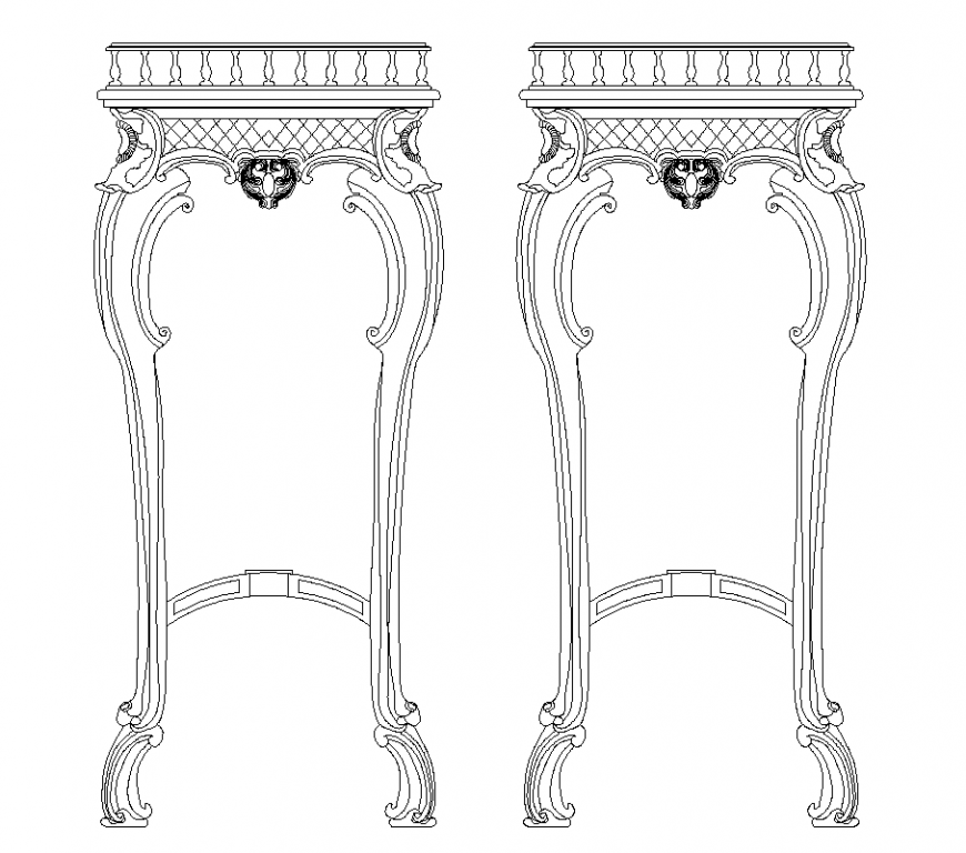 High square table elevation with furniture design dwg file