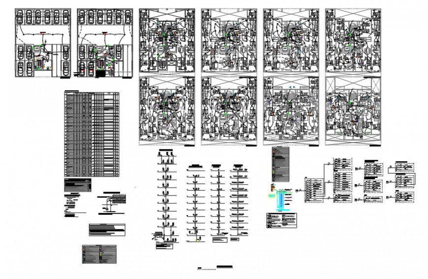 High story building block detail electrical installation plan 2d view file