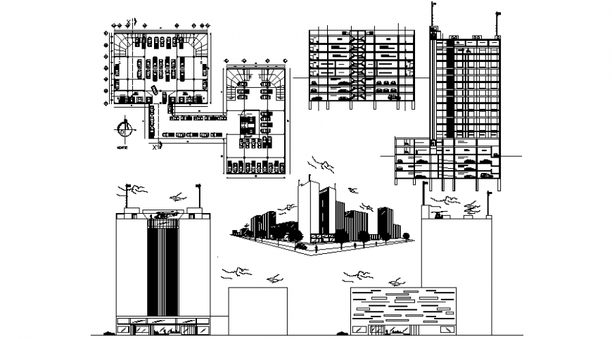 High story building drawings 2d view elevation and section dwg file