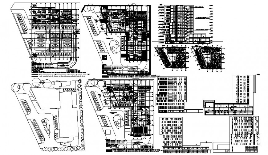 High story Building plan and section drawing in AutoCAD