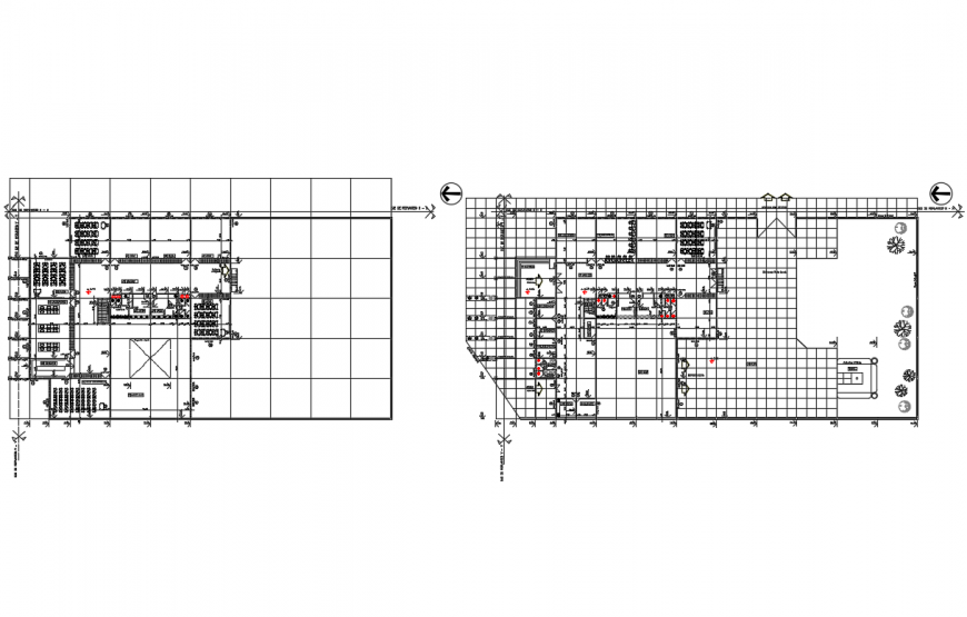 Higher education college building ground and first floor layout plan details dwg file