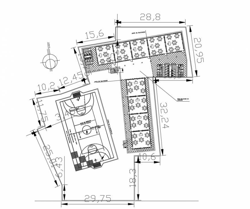 Higher secondary school building general layout plan cad drawing details dwg file