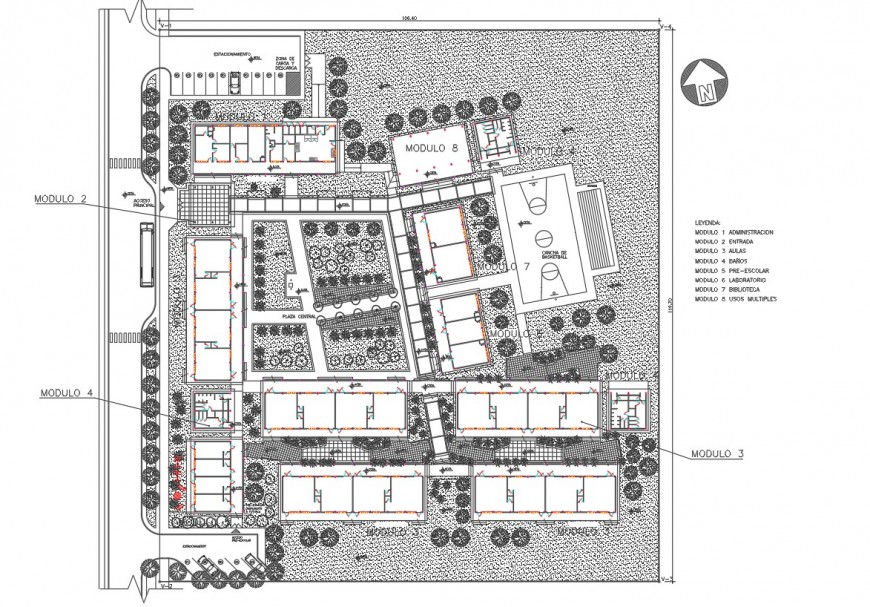 Higher Secondary school distribution, site plan and landscaping details dwg file