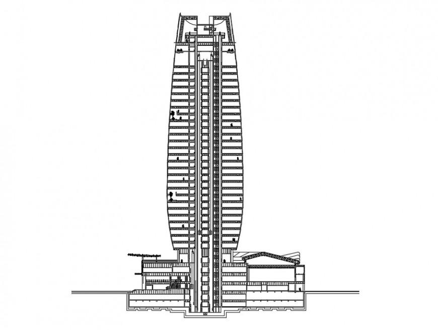 Highrise building elevation design cad file