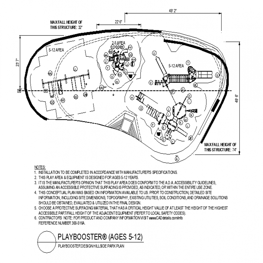 Hill side park plan layout file