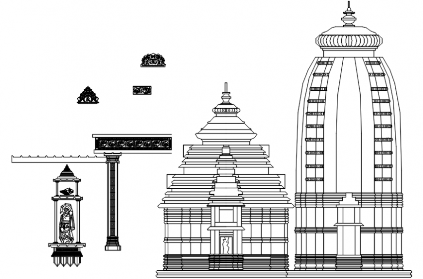 Hind temple odhisa right side elevation and column details dwg file