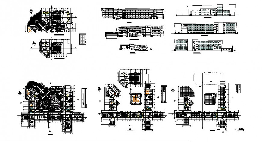 Historic social sciences faculty building elevation, section and floor plan cad drawing details dwg file