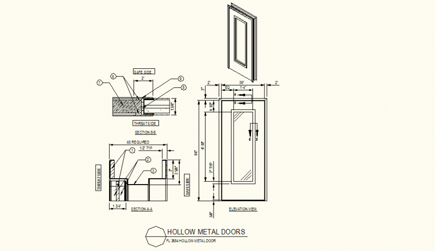 Hollow glass door detail elevation layout plan