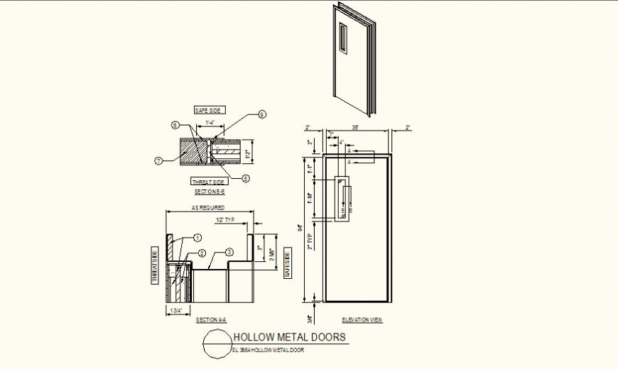 Hollow metal door detail plan and elevation dwg file